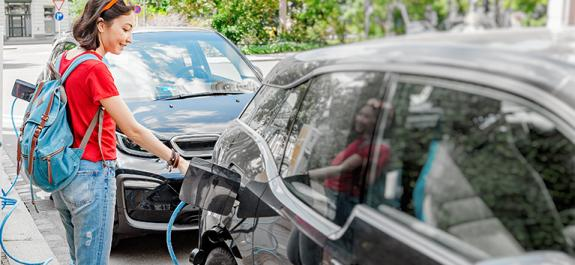 Charging electric car in the city