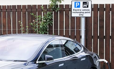Personal electric car charging on the street