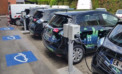 Administrative EV fleet plugged